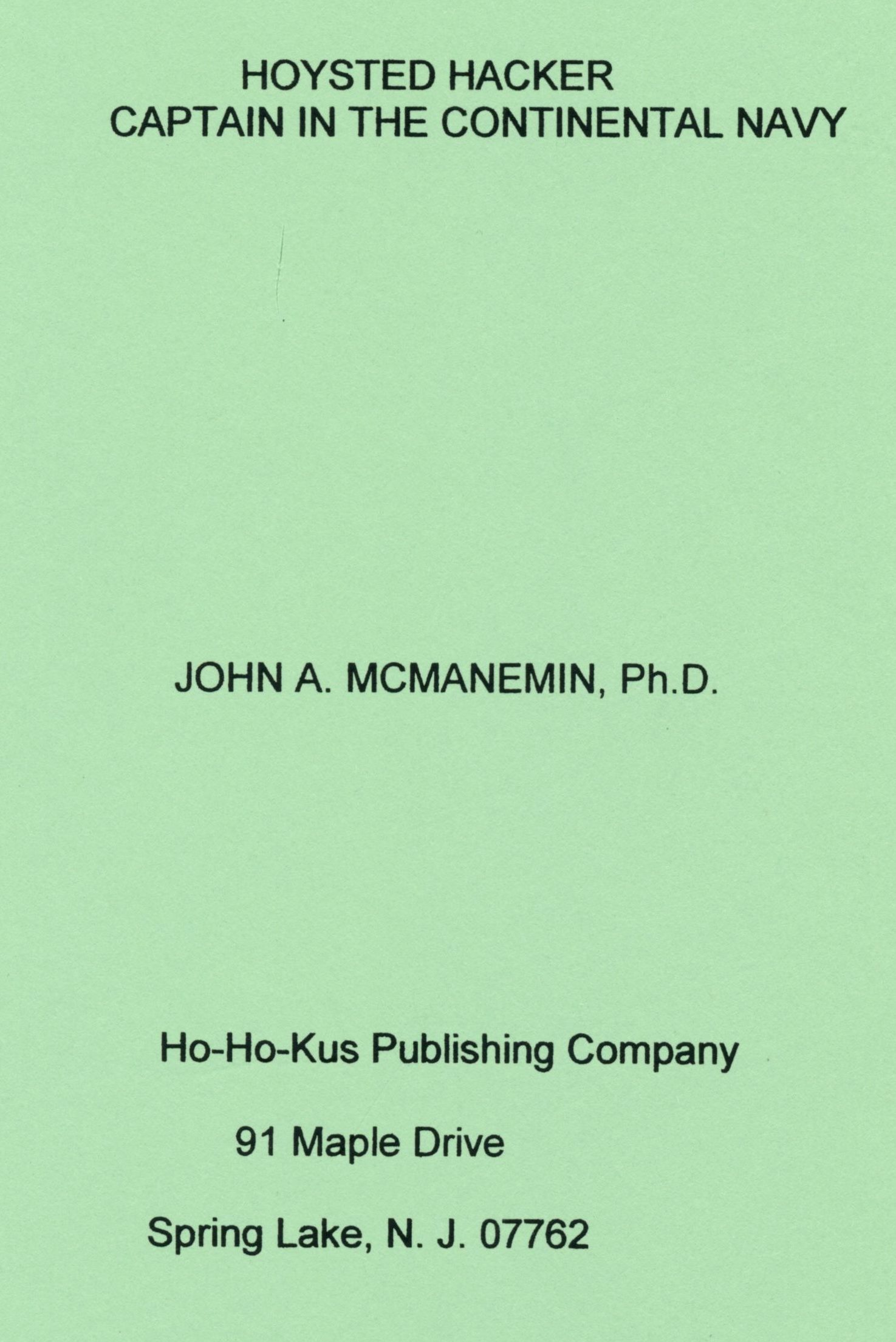 McManemin book cover