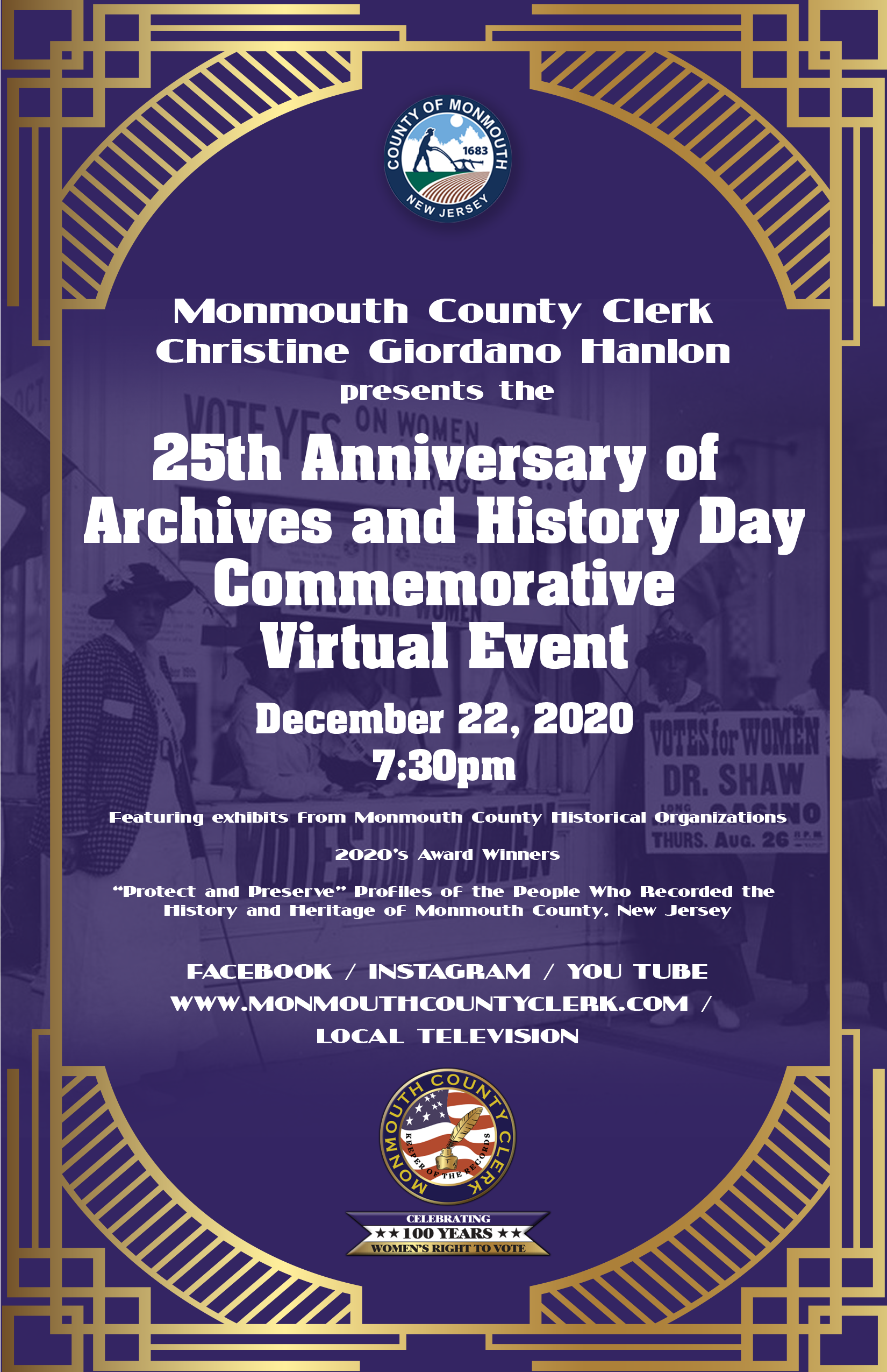 featured image for: <center>COUNTY CLERK HANLON ANNOUNCES VIRTUAL  25TH ANNIVERSARY ARCHIVES & HISTORY DAY EVENT<br><br>COMMEMORATIVE VIDEO TO BE LIVESTREAMED FOR PUBLIC VIEWING</center>