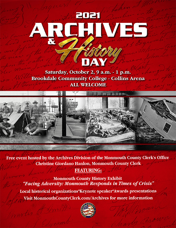 featured image for: <center>COUNTY CLERK HANLON INVITES ALL TO MONMOUTH COUNTY ARCHIVES AND HISTORY DAY THIS SAT., OCT. 2<center>